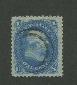 1868 United States Postage Stamp #86 Used F/VF Partial Spiral Postal Cancel