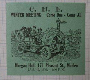 CNE 1939 Winter Meeting Malden MA Central New England Philatelic Souvenir Label