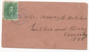 CSA Scott #1 Stone 2 Pos 37 Overinked Blue Franklin Depot VA CDS March 21 (1862)