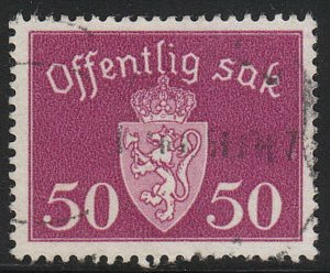 Stamp Norway Official Sc O055 1947 Dienst Coat Arms Used