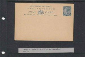JAMAICA POSTAL STATIONARY CARDS UNUSED 1D 1891