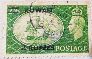 Kuwait-1950-51-2R-Overprint(light Green)(Uncommon)