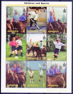 Mongolia 2001 Sc#2496 Children and Sports Hockey-Golf-Football Sheetlet (9) MNH