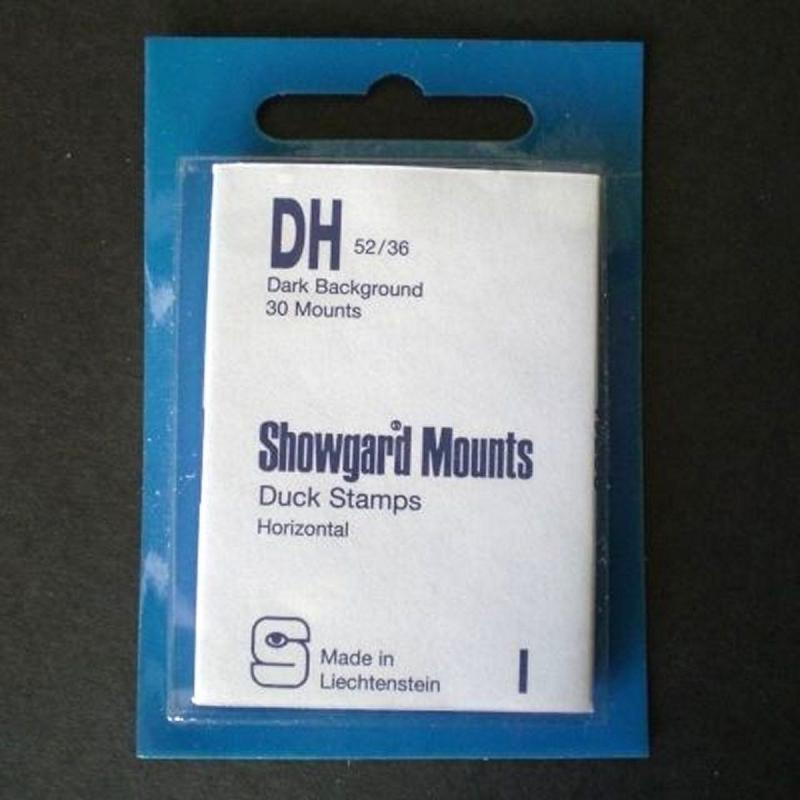 Showgard Stamp Mounts Size DH 52 / 36 BLACK Background Pack of 30