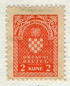 CROATIA; 1940s early classic Revenue/Fiscal issue fine mint 2k. value