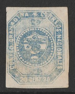 COLOMBIA : 1859 Arms 20c blue, imperf 1st issue. .