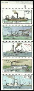 PCBstamps   US #2405/2409a Bk Pane $1.25(5x25c)Steamboat, MNH, (5)