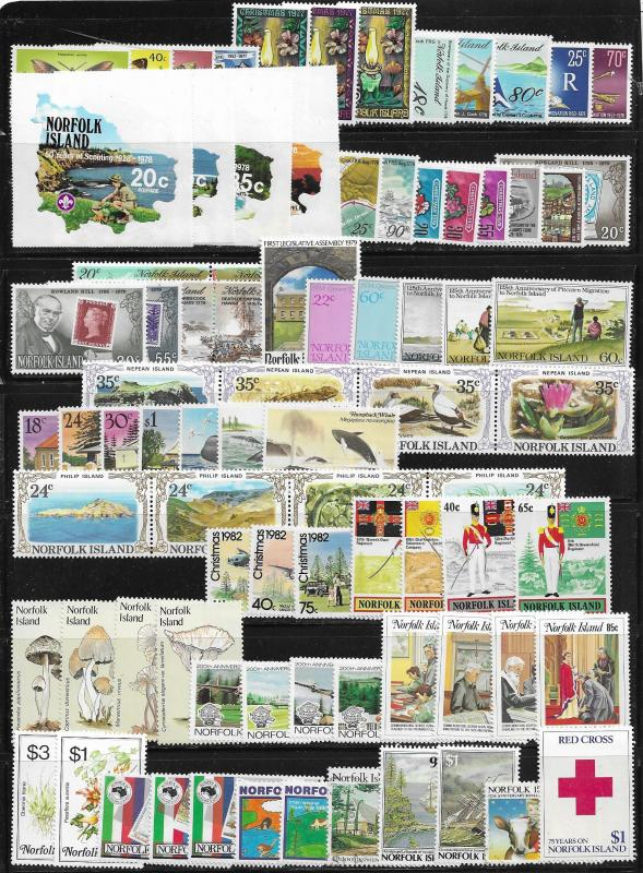 Norfolk Is. lot of 84 mint & used stamps 2017 SCV $58.15 - avg cv of 69¢ each