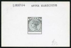Bahamas 1884 Master Die Proof in black on glazed card 5 MAR 84 AFTER HARDENING