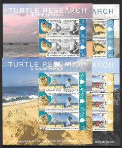 ASCENSION SG1048/55 2009 TURTLE RESEARCH & CONSERVATION SHEETLETS MNH