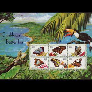 GUYANA 1999 - Scott# 3382 Sheet-Butterflies NH