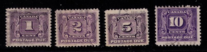 Canada #  J1-5 Used  F-VF  stamps Cat $ 27.90