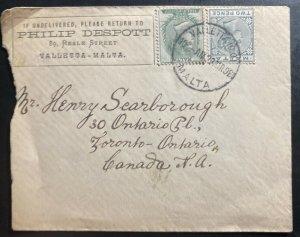 1898 Valletta Malta Commercial Cover To Toronto Canada