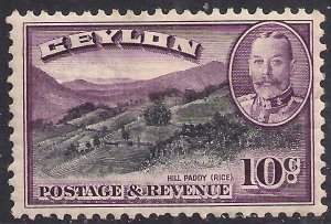 Ceylon 1935 - 36 KGV 10ct Black & Purple MM SG 372 ( R1232 )