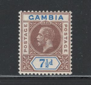 Gambia 1912 King George V 7 1/2p Scott # 79 MH