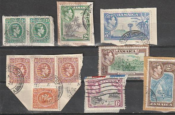#116,118,119,121,123,125,126,148 Jamaica used on paper