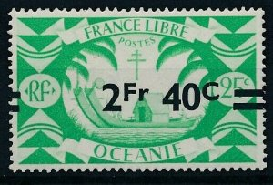 [304] Oceania 1945 good Stamp very fine MNH Shifted Overprinted Value $55