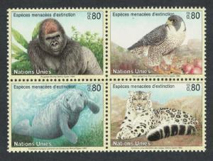 UN Geneva Birds Gorilla Falcon Manatee Snow Leopard 4v Block of 4 without