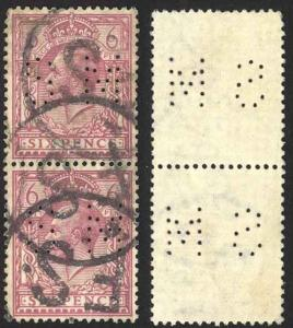 Great Britain Sc# 167 SG# 386 Used Pair Perfin SM 1912 6p King George V
