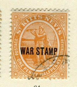 ST.KITTS; 1916 early WAR TAX issue fine used Columbus issue 1.5d. value