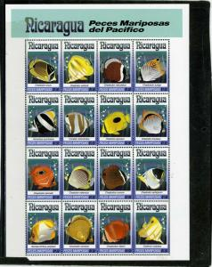 NICARAGUA 1993 Sc#1962 TROPICAL FISH SHEET OF 16 STAMPS MNH