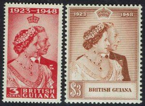 BRITISH GUIANA 1948 KGVI SILVER WEDDING SET MNH **