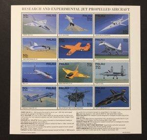 Palau 1992 #370 S/S, Jet Aircraft, MNH.