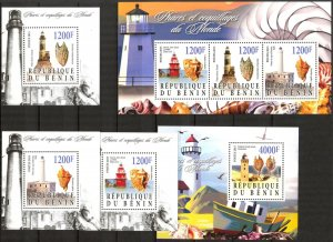 Benin 2015 Marine Life Shells Lighthouses 5 S/S MNH Cinderella !