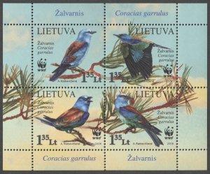 2008 Lithuania 988-91/B37 WWF / Birds