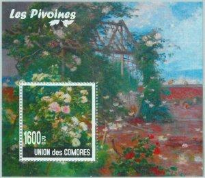 A0435 - COMORES, ERROR, MISPERF, Souvenir sheet: 2010, Peonies, Flowers