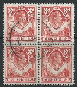 Northern Rhodesia  SG 35 VFU Block x 4