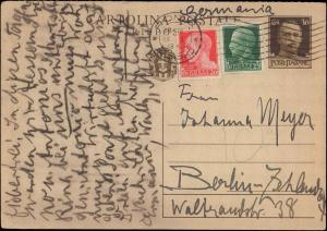 ITALY 1938 GOVERNMENT POSTAL CARD UP-RATED MULTI STAMP TO GERMANY