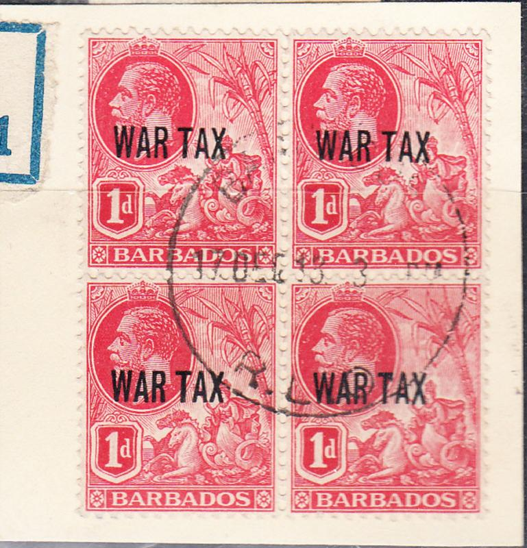 BARBADOS SG 198 used block on piece - War Tax - Dull Rose