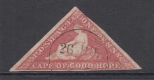 Cape of Good Hope Sc 3, SG 5a used 1858 1p Hope Seated triangular, Die A, F-VF
