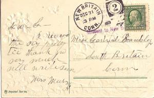 United States Connecticut Missent to New Britain, Conn.  1909 violet sl  PC.