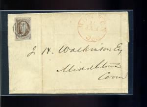 Scott #1 Franklin Imperf Used Stamp on  Interesting 1851 Cover (#1-Cvr 23)