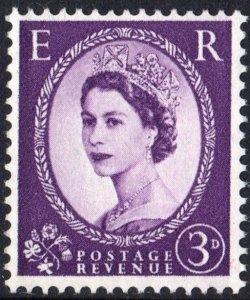 Great Britain #358c 3d Queen Elizabeth II: Graphite Lines Single (1959) MNH
