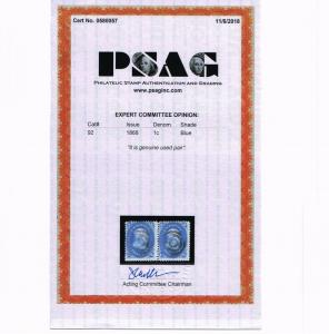 EXCEPTIONAL GENUINE SCOTT #92 VF USED PAIR 1868 BLUE PSAG CERT CLEAR F-GRILL