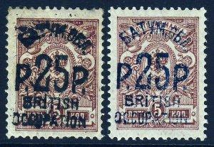 BATUM 1920 British Occupation Sch 25r. BOTH COLOURS on 5k Brown SG 29 & 29a MINT