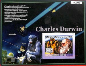 A0309 - COMORES Comoros - MISPERF 2009  stamp SHEET: Science NATURE : Darwin