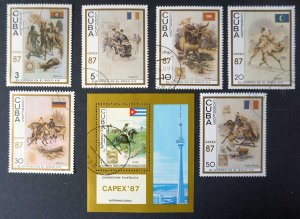 CUBA Sc# 2947-2953 CAPEX '87 TORONTO CPL set of 6+SS CN TOWER pioneers 1987 used