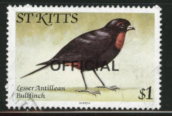 St Kitts Scott o19 used 1981 Official bird stamp