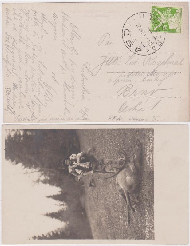 Czechoslovakia 1924 Postcard  With Lubochna CDS Tieing Stamp - VF