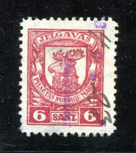 x189 - LATVIA Jelgava 1930s Municipal REVENUE Stamp. 6 sant Used