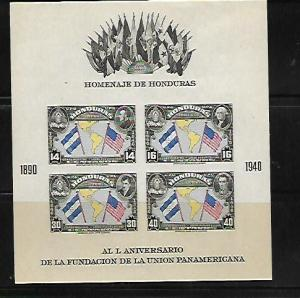 HONDURAS, C100, MNH, SS OF 4, FLAG TYPE