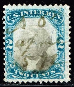US STAMP REVENUE #R104 – 1871 2c  BLUE BLACK USED STAMP