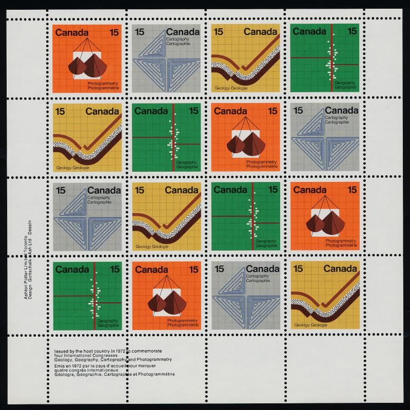 Canada 585a BL Sheet MNH Geology, Geography