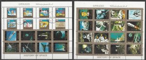 Ajman  Two Mini Sheets of 16 History of Space  CTO