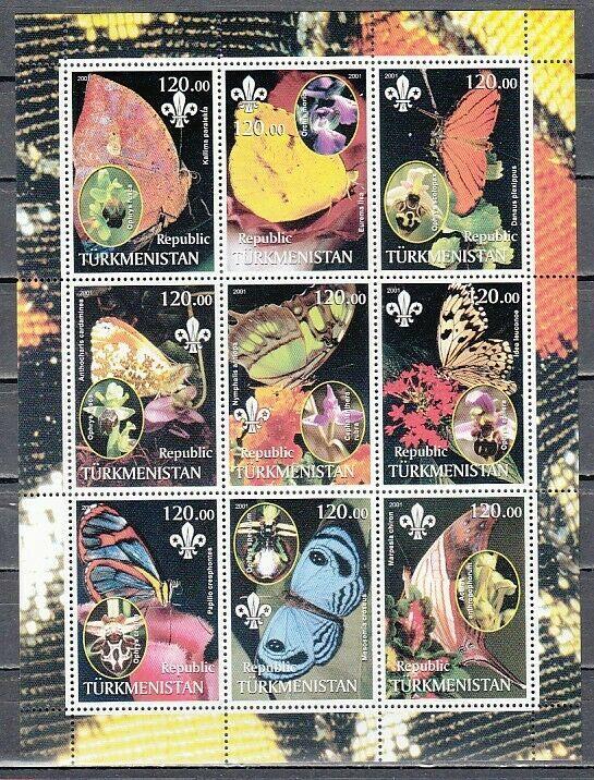 Turkmenistan, 2001 Russian Local. Butterflies & Orchids sheet of 9.