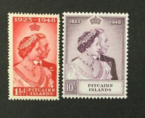 {BJ Stamps} PITCAIRN ISLANDS, #11-12, 1948 SILVER WEDDING, MNH. CV $44.75.
